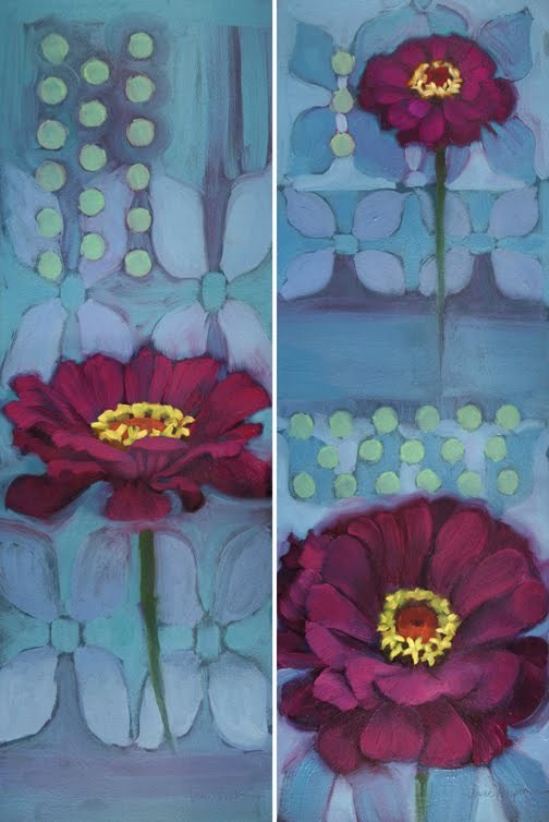 """Magenta Zinnias big colorful floral paintings"" original fine art by Diane Hoeptner"