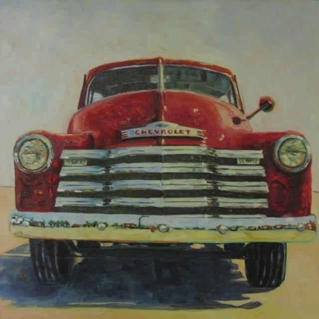 """RED CHEVY"" original fine art by Mb Warner"