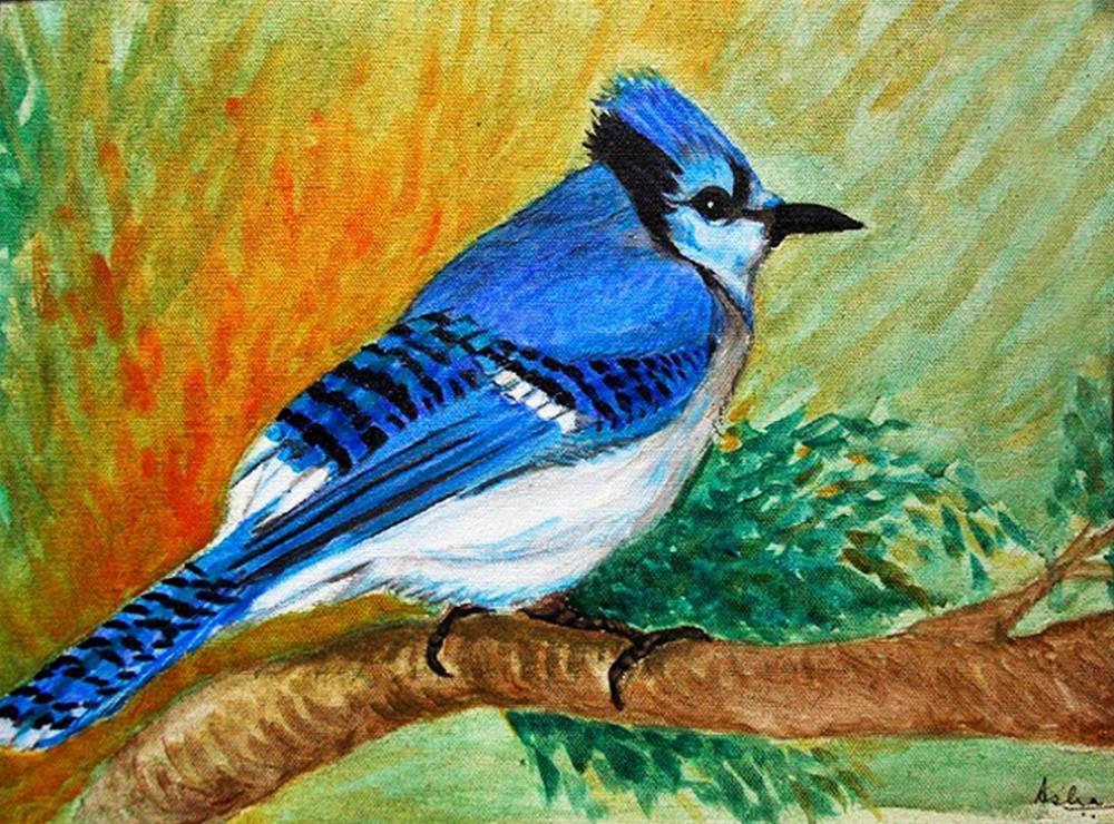 """The Blue Jay"" original fine art by Asha Shenoy S"