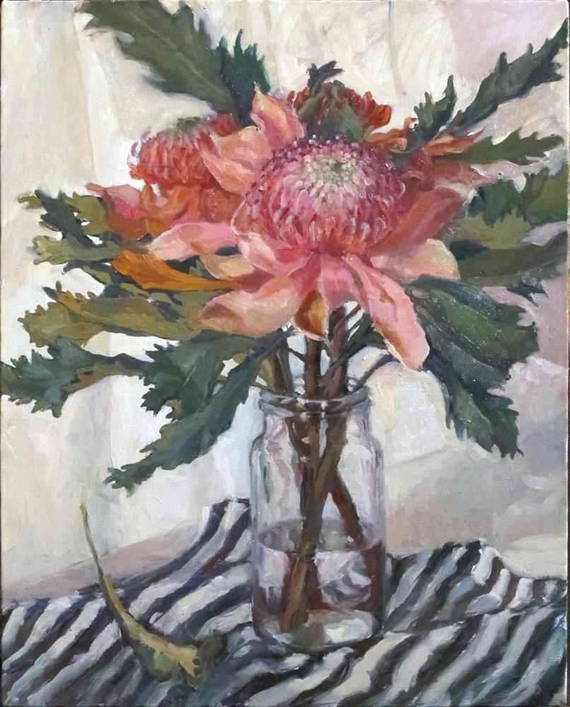 """""""Pink Waratahs"""" original fine art by Myriam Kin-Yee"""