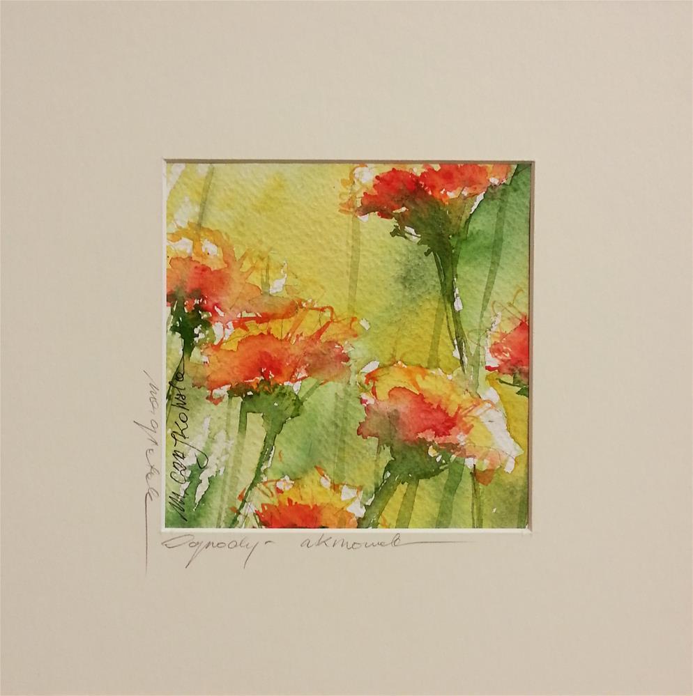 """Marigolds"" original fine art by Marlena Czajkowska"