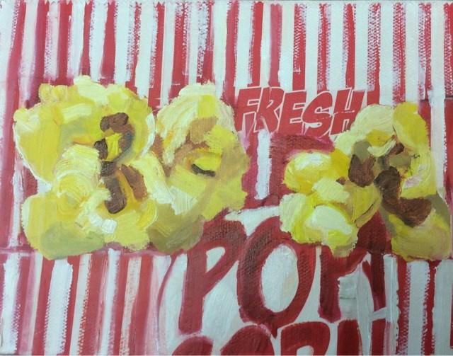 """""""Popcorn challenge"""" original fine art by Peggy Schumm"""