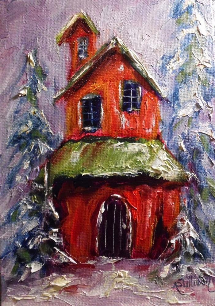 """Santa's Lair snow scape painting by Alabama Artist Angela Sullivan"" original fine art by Angela Sullivan"