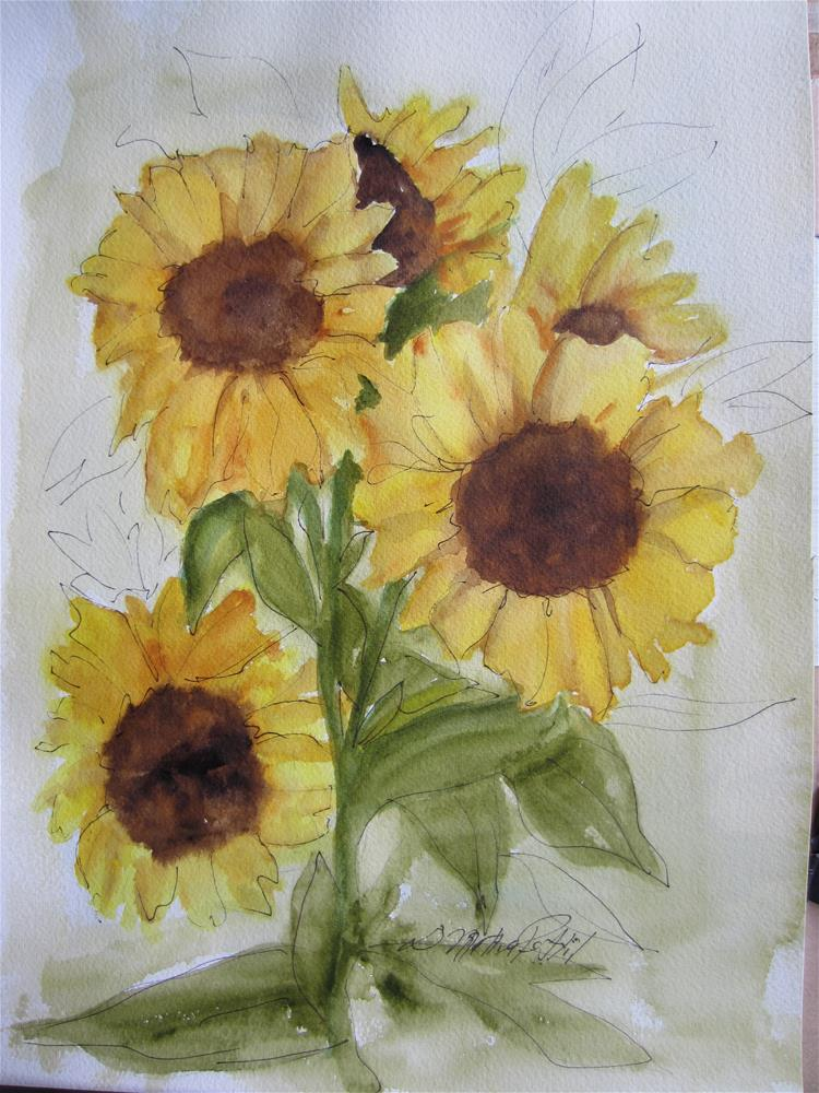 """Sunflowers"" original fine art by Dolores Pettit"