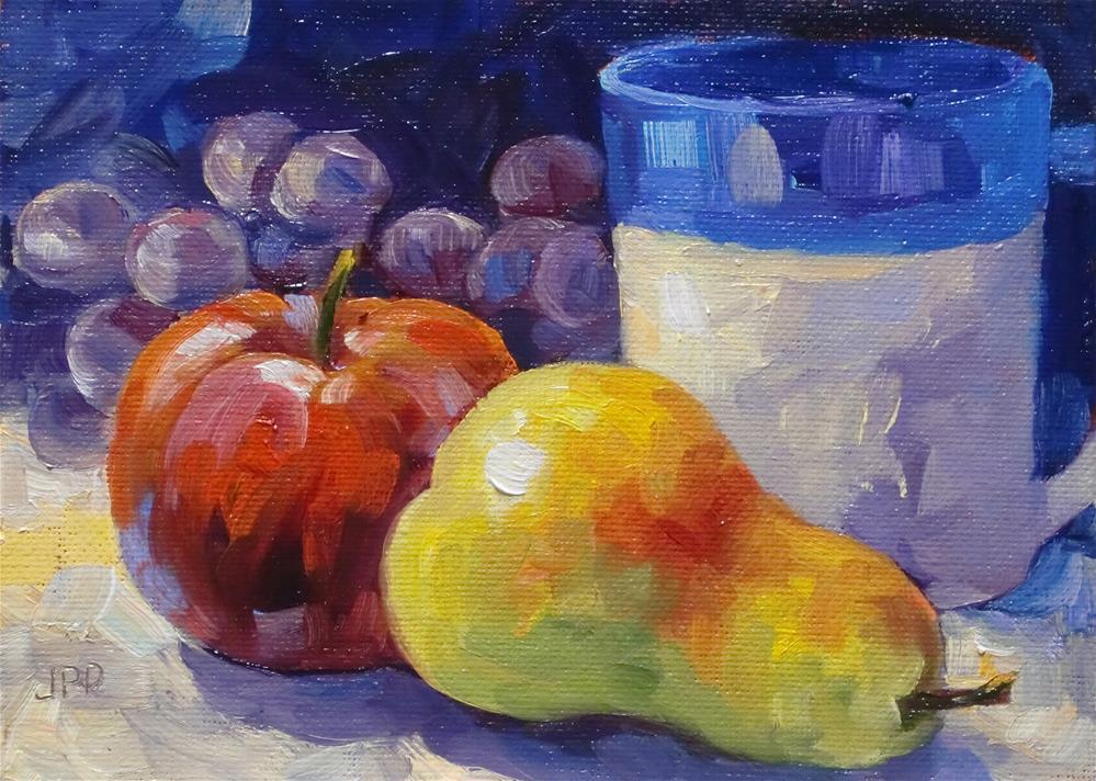 """""""Pear and apple"""" original fine art by Jean Pierre DeBernay"""