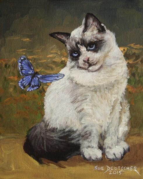 """""""Ragdoll Cat and Butterfly"""" original fine art by Sue Deutscher"""