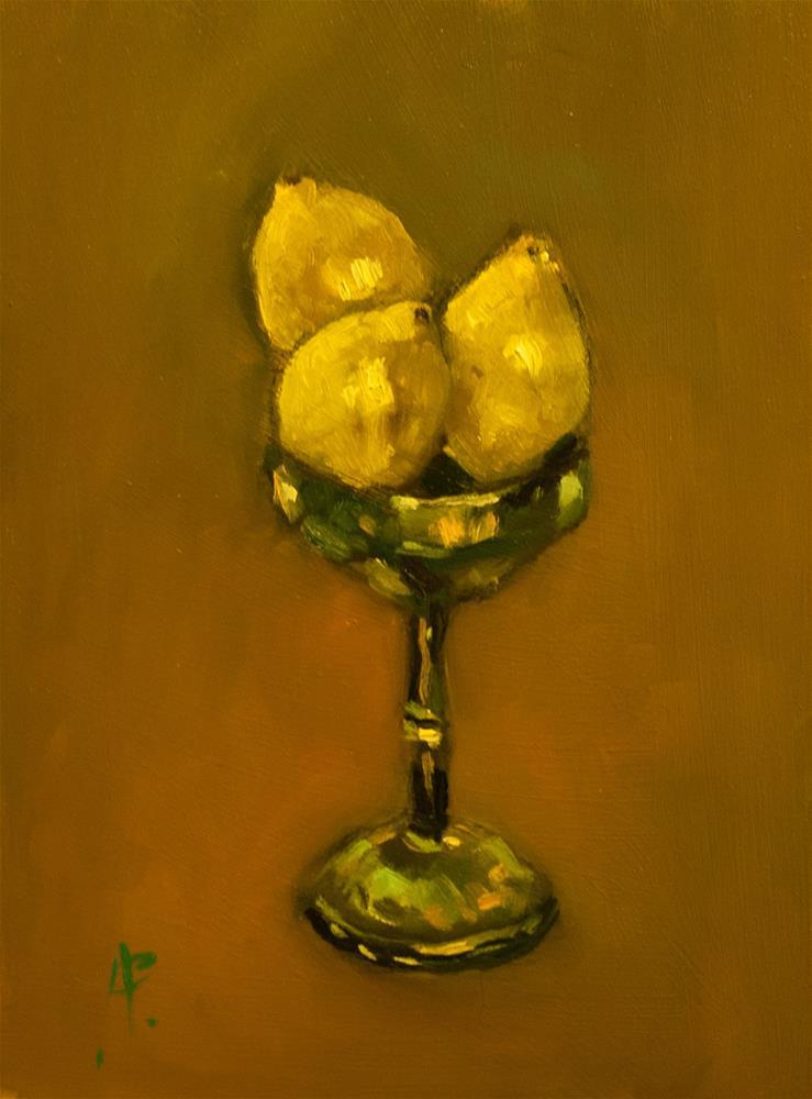 """Lemons in Silver Chalice"" original fine art by Andre Pallat"