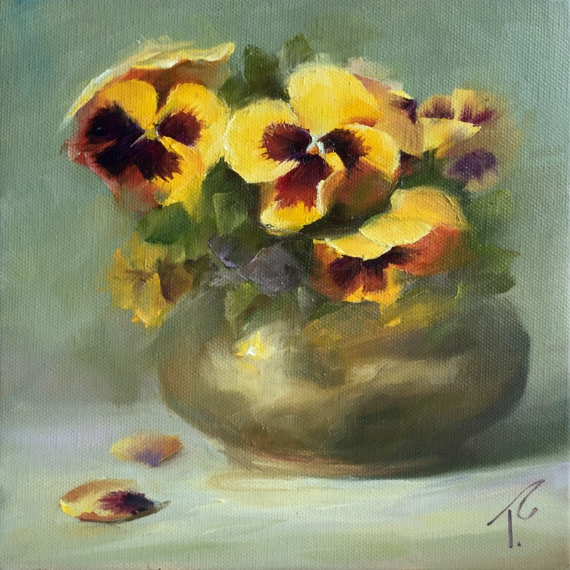 """Study of Pansies and Brass on Green"" original fine art by Lori Twiggs"