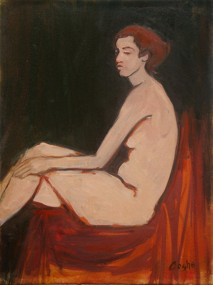 """Seated female nude"" original fine art by Angela Ooghe"