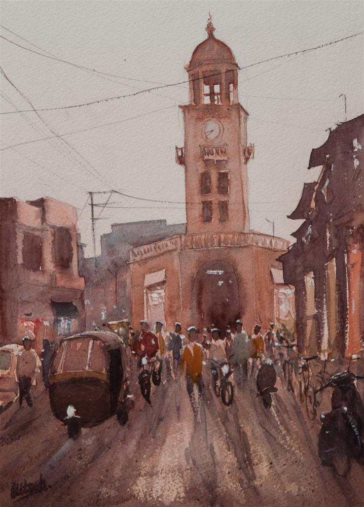 """The Tower"" original fine art by Tesh Parekh"
