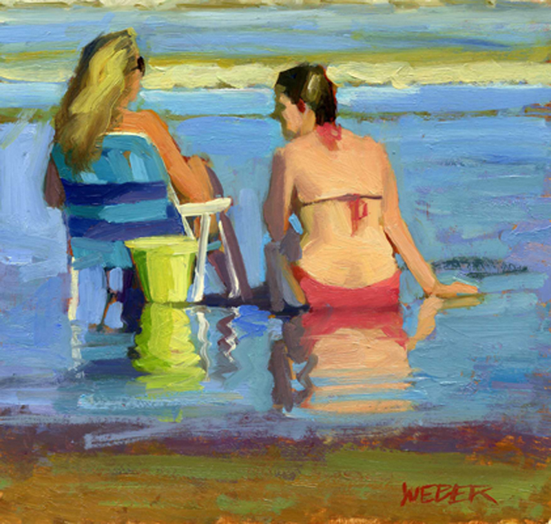 """At the beach"" original fine art by Kathy Weber"