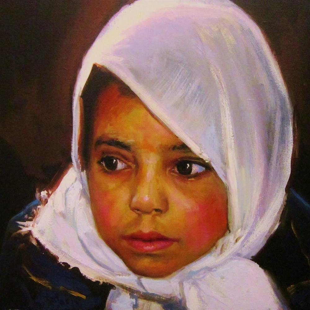 """Girl with scarf"" original fine art by Víctor Tristante"