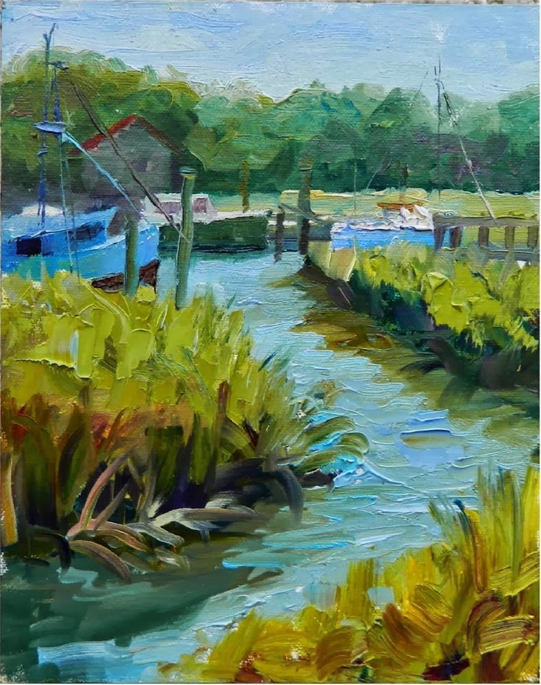 """Afternoon Marsh, Shem's Creek, plein air, 9x12, Mt. PLeasant, Charleston, boats, marshes, plein ai"" original fine art by Maryanne Jacobsen"