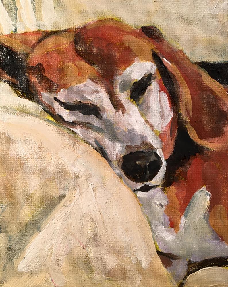 """Napping Charlie"" original fine art by Susan Elizabeth Jones"
