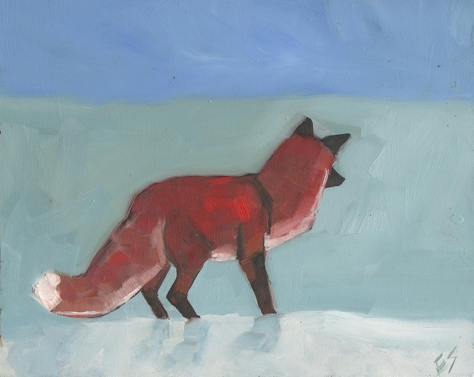 """Fox In Winter"" original fine art by Elizabeth See"