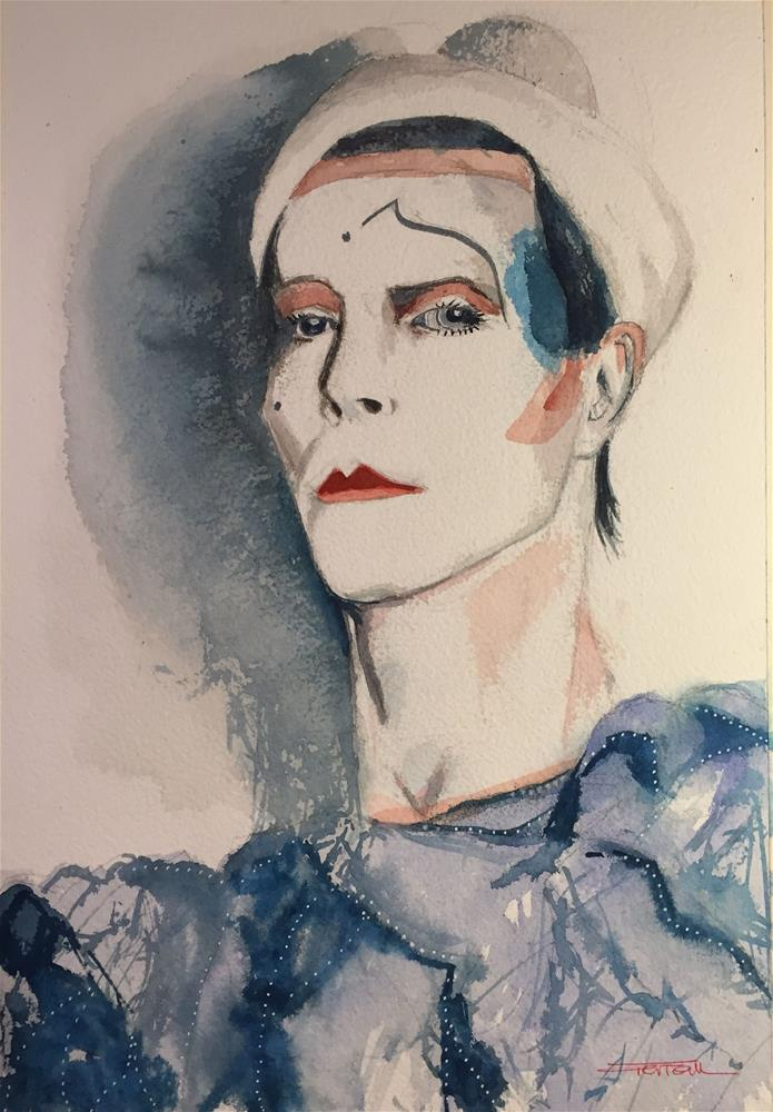 """""""PIERROT -ASHES TO ASHES- DAVID BOWIEs"""" original fine art by Ferran Llagostera"""