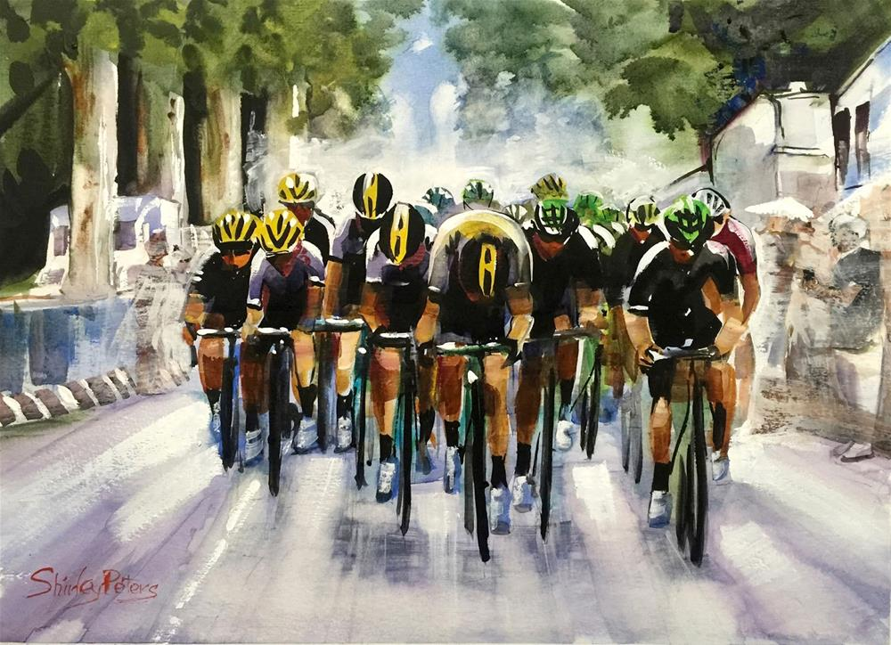 """Riding the Rain on Stage 12"" original fine art by Shirley Peters"