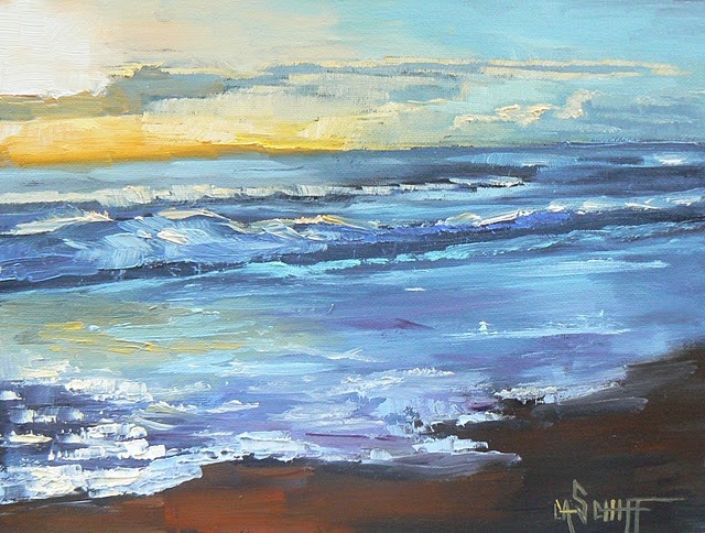 """SUNRISE REFLECTING ON THE SURF, 6x8, OIL"" original fine art by Carol Schiff"