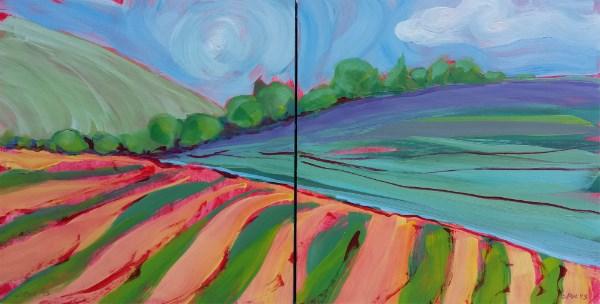 """Valley Morning 32, 33 Diptych"" original fine art by Pam Van Londen"