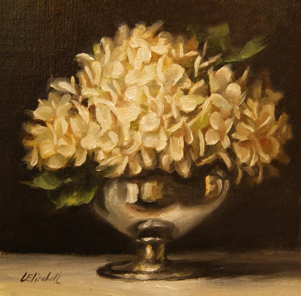 """Cream Hydrangeas in Silver,  Oil on 6x6 Linen Panel"" original fine art by Carolina Elizabeth"