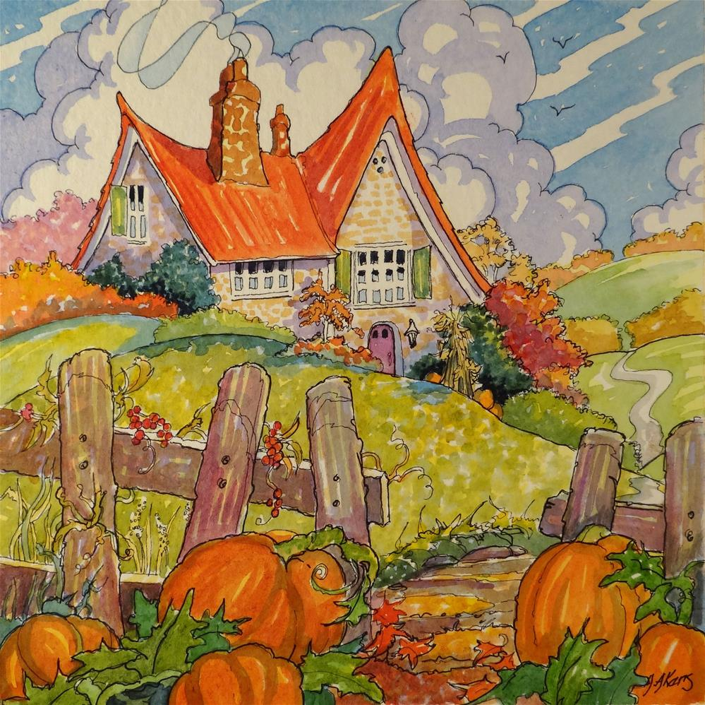 """""""The Autumn Cottage Storybook Cottage Series"""" original fine art by Alida Akers"""