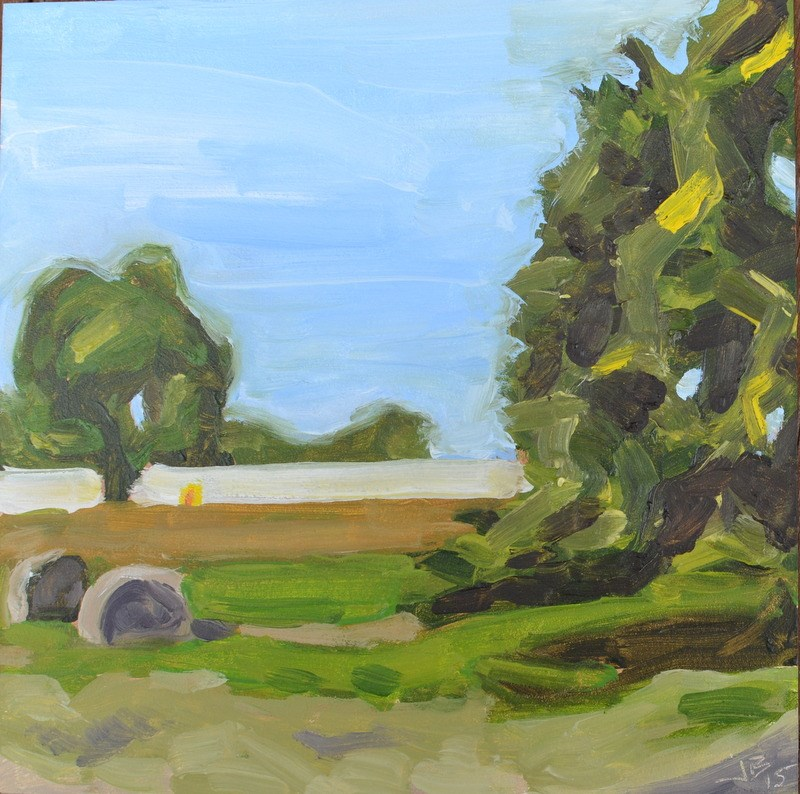 """Hay Bales with Chicken House"" original fine art by Jonathan Baker"