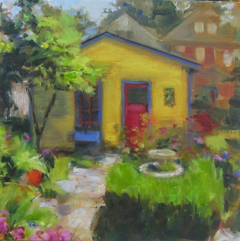 """Fun city backyard garden"" original fine art by Sandy Haynes"
