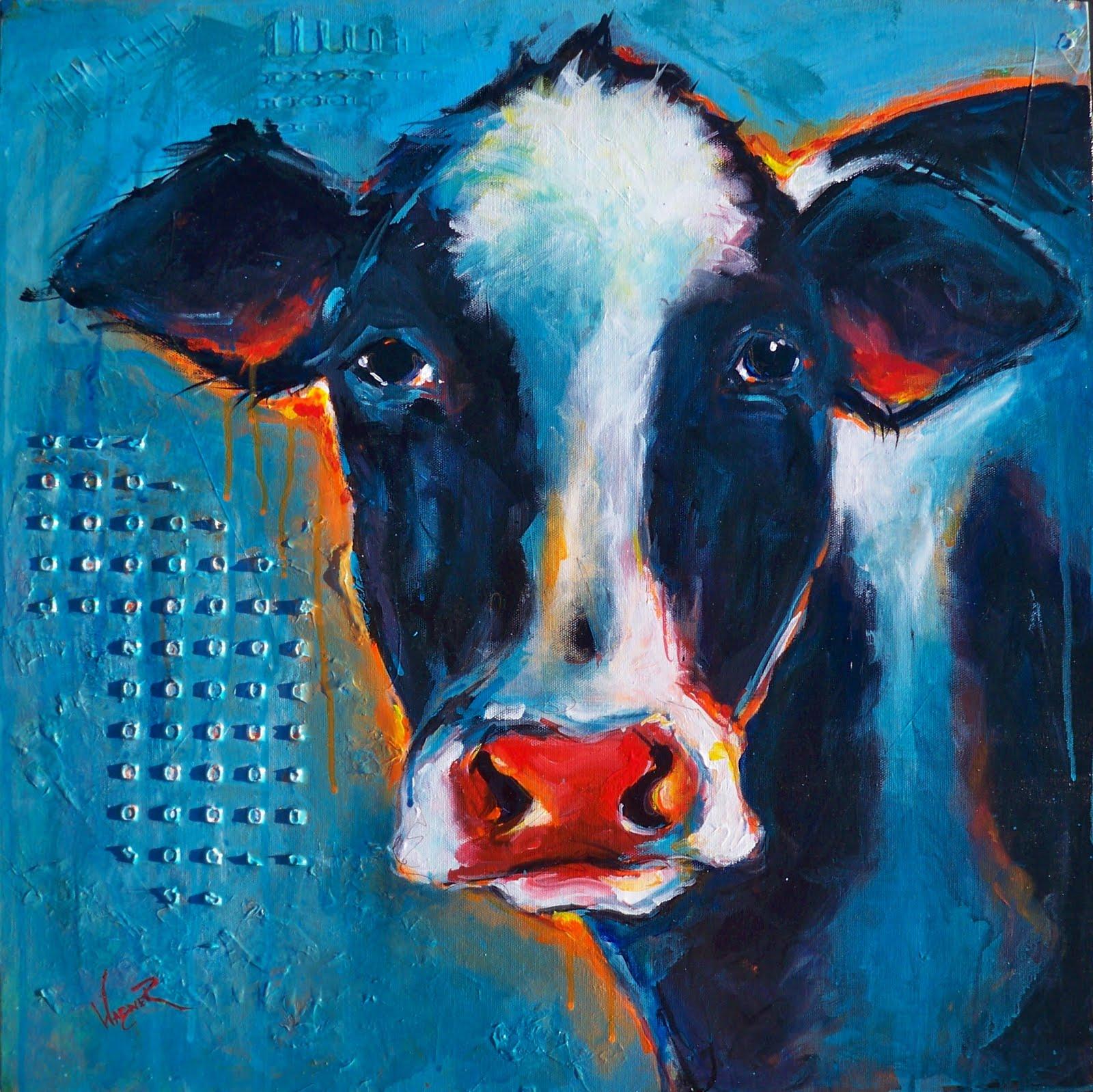 """BLUE CONTEMPORARY COW"" original fine art by Olga Wagner"