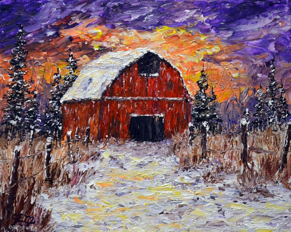 """Wilson's Winter Barn"" original fine art by Gloria Ester"