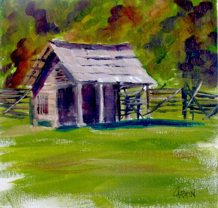"""Corncrib, 8x8"" original fine art by Carmen Beecher"