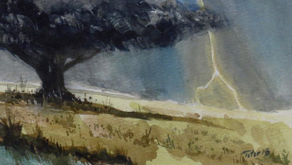 """Tree w/ Lightning"" original fine art by David J. Teter"
