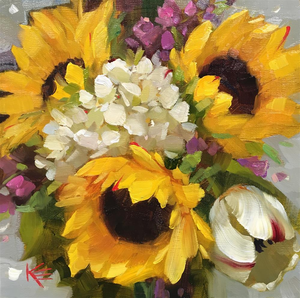 """Tulip & Sunflowers"" original fine art by Krista Eaton"