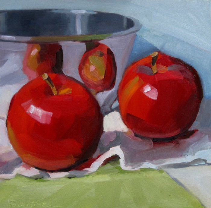 """Two Apples Relected on White Cloth"" original fine art by Robin Rosenthal"