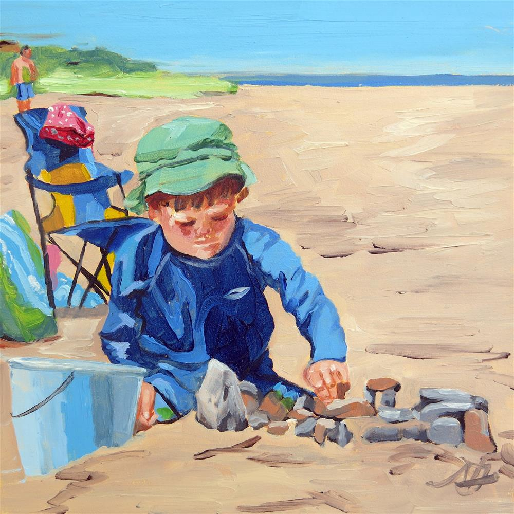 """Little Builder"" original fine art by Nancy Fairchild"