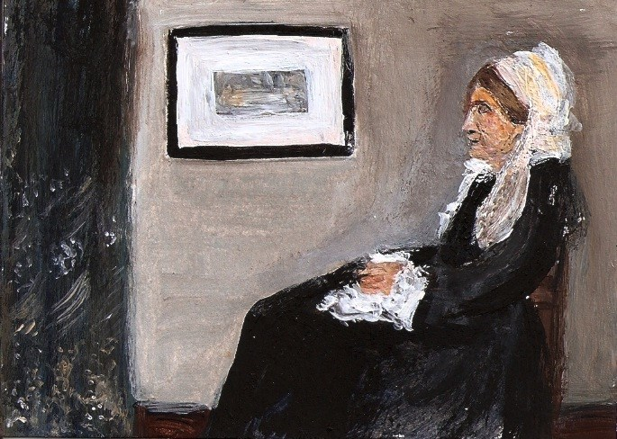 """ACEO Whistlers Mother Painting Original SFA Miniature Masters Penny StewArt"" original fine art by Penny Lee StewArt"