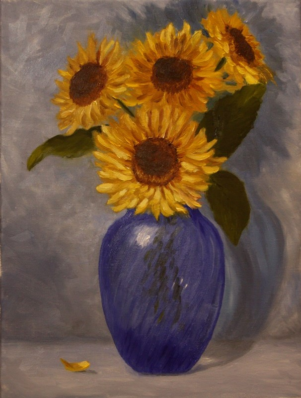 """Sunflowers in Blue Vase"" original fine art by Mary Datum"