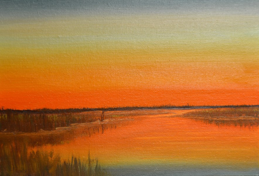 """Sunset on Galveston Bay"" original fine art by Janice Bartke Thompson"