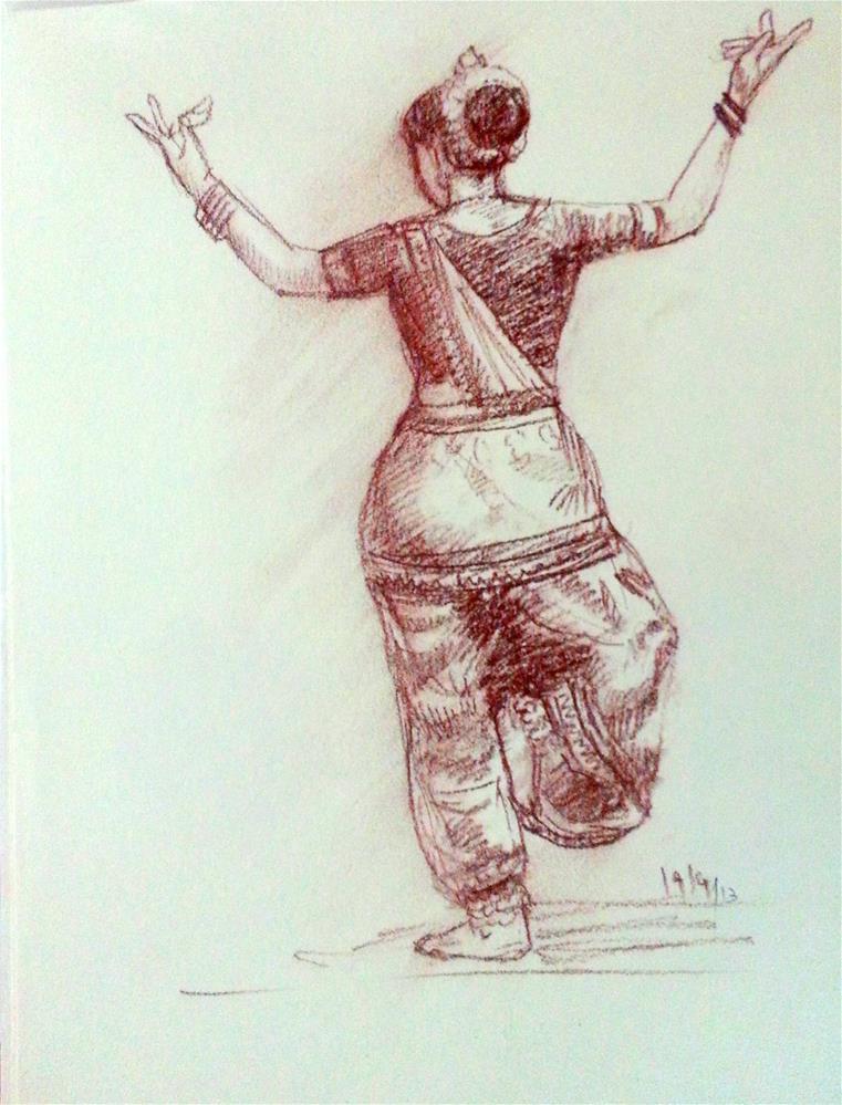 """Indian Dancer 2"" original fine art by Asha Shenoy S"