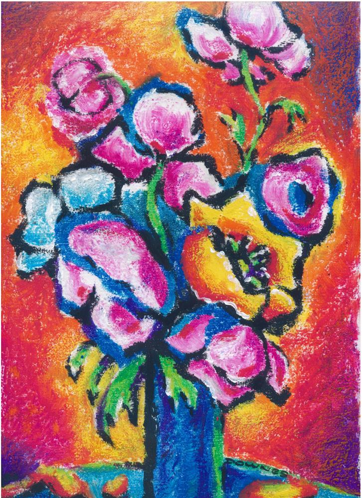 """194 FLOWERS ABSTRACT 6"" original fine art by Trevor Downes"