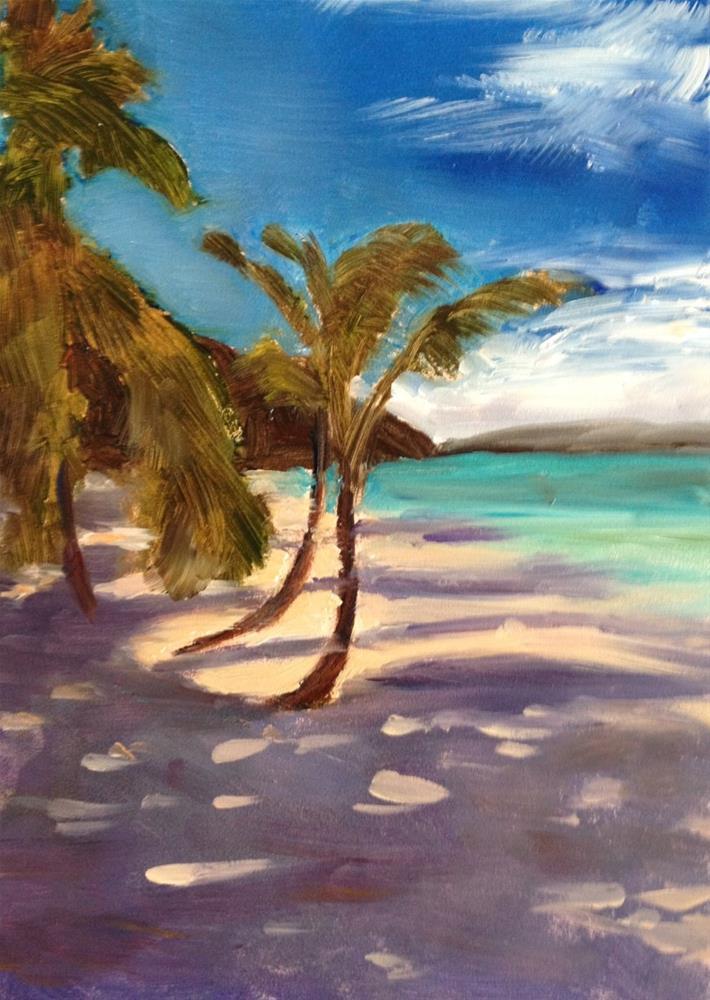 """Palms at Solomon's Beach"" original fine art by Claudia L Brookes"
