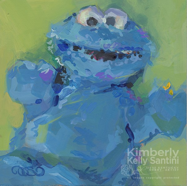 """Cookie Monster, Toy #6"" original fine art by Kimberly Santini"