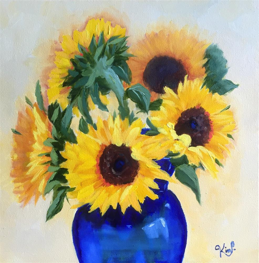 """Sunflowers in cobalt blue vase"" original fine art by Kim Peterson"