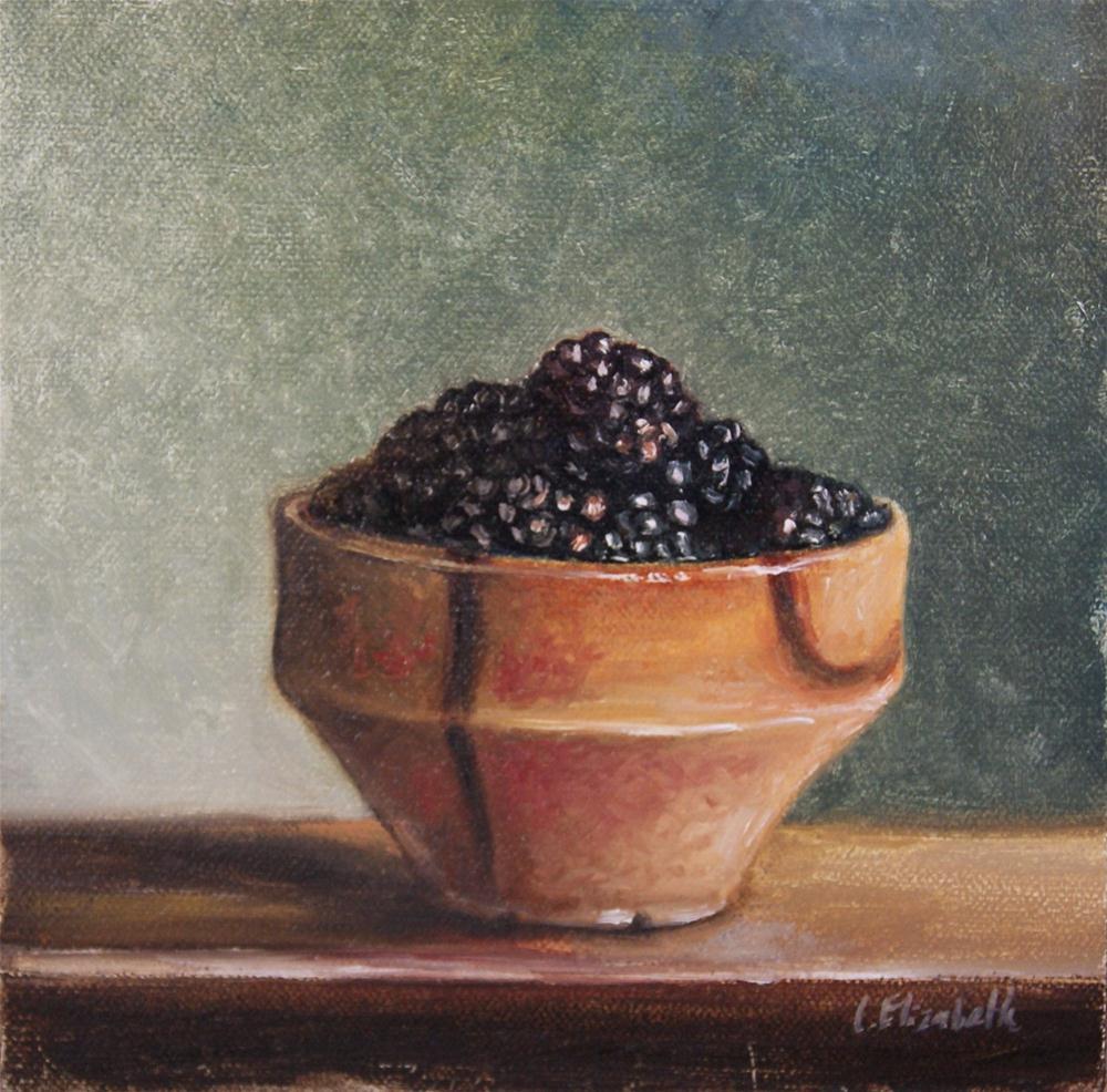 """Blackberries and Pottery Still Life"" original fine art by Carolina Elizabeth"