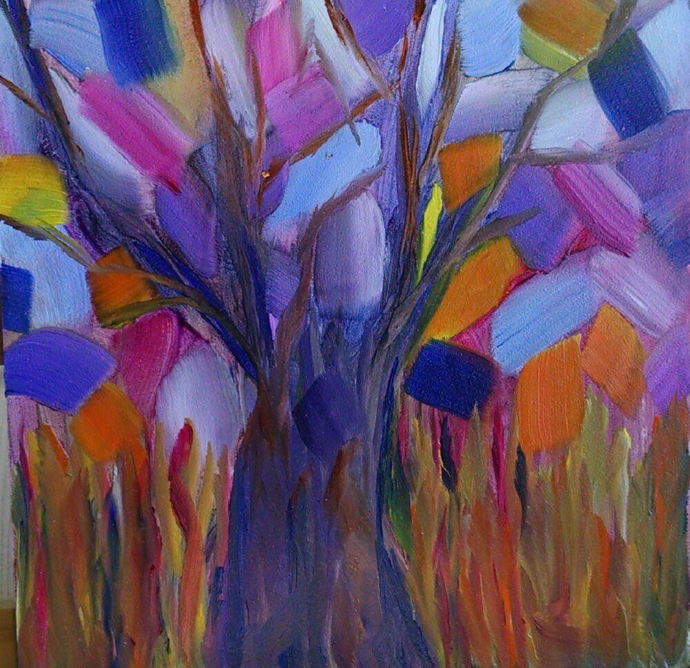 """Rainbow Tree"" original fine art by Kathy Fleming"