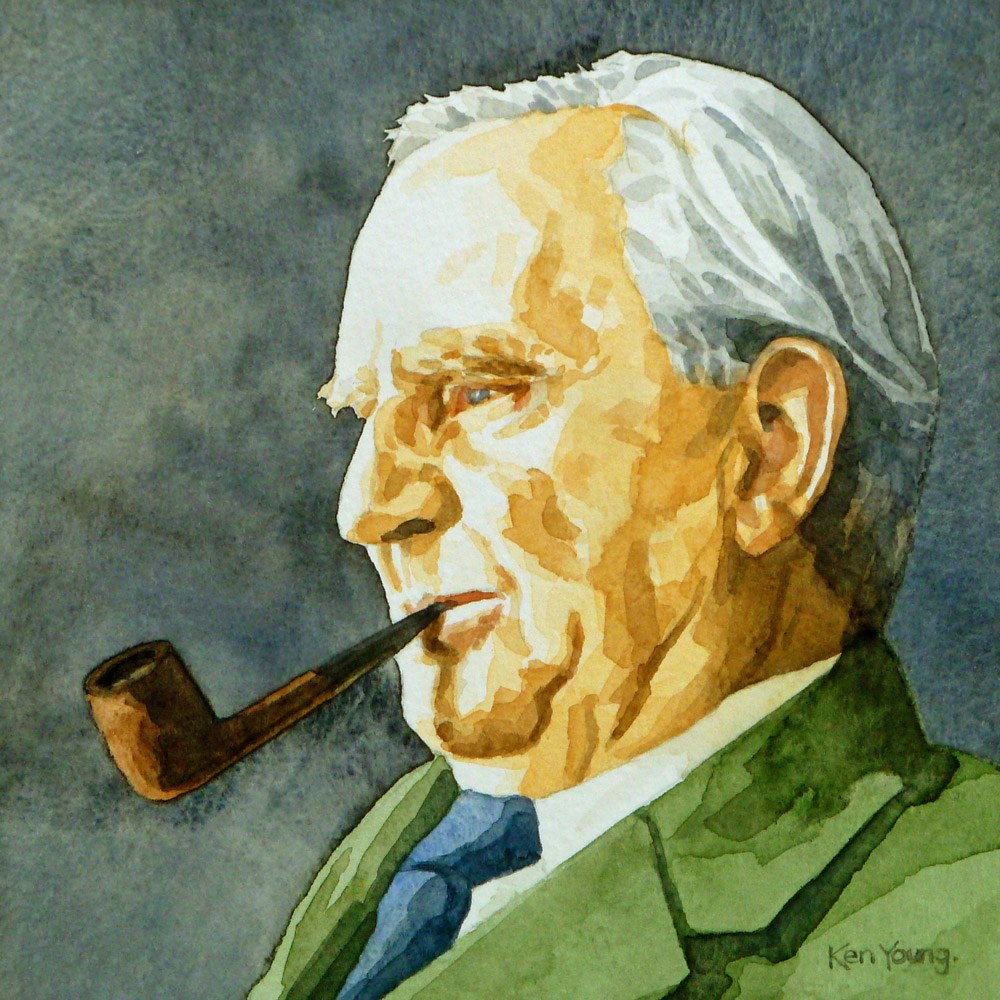 """J R R Tolkien"" original fine art by Ken Young"