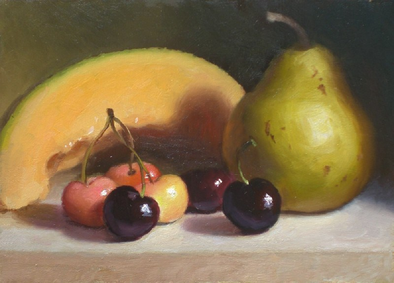 """Cantaloupe, Cherries, and Pear"" original fine art by Debra Becks Cooper"