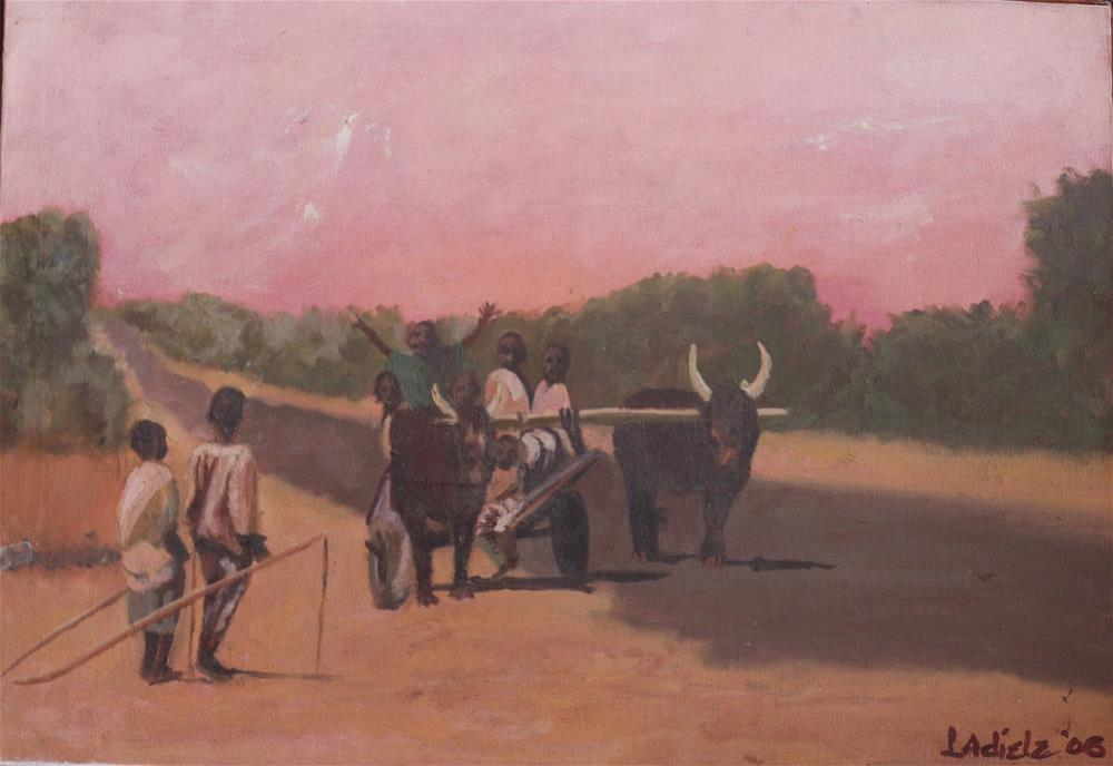 """Children on a cart"" original fine art by Linda Adiele"