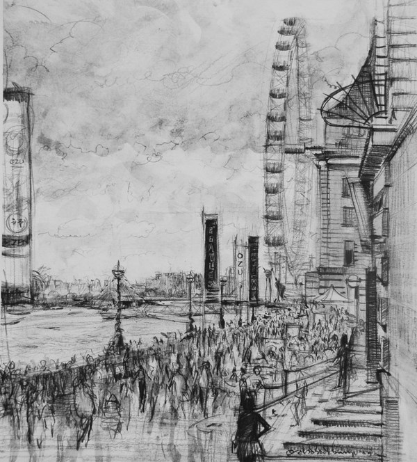 """""""The London Eye"""" original fine art by Adebanji Alade"""