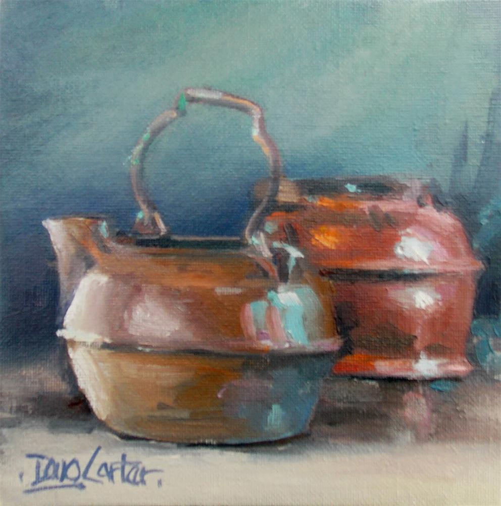 """ Brass and Iron Tea Pots "" original fine art by Doug Carter"