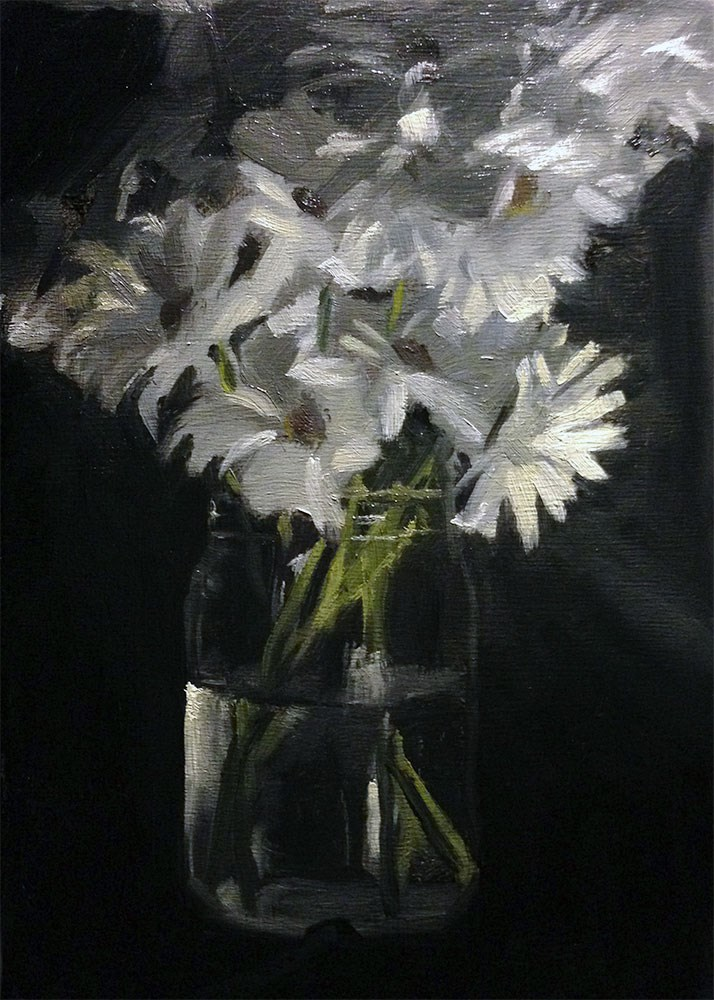 """Jar of Daisies"" original fine art by Chris Beaven"